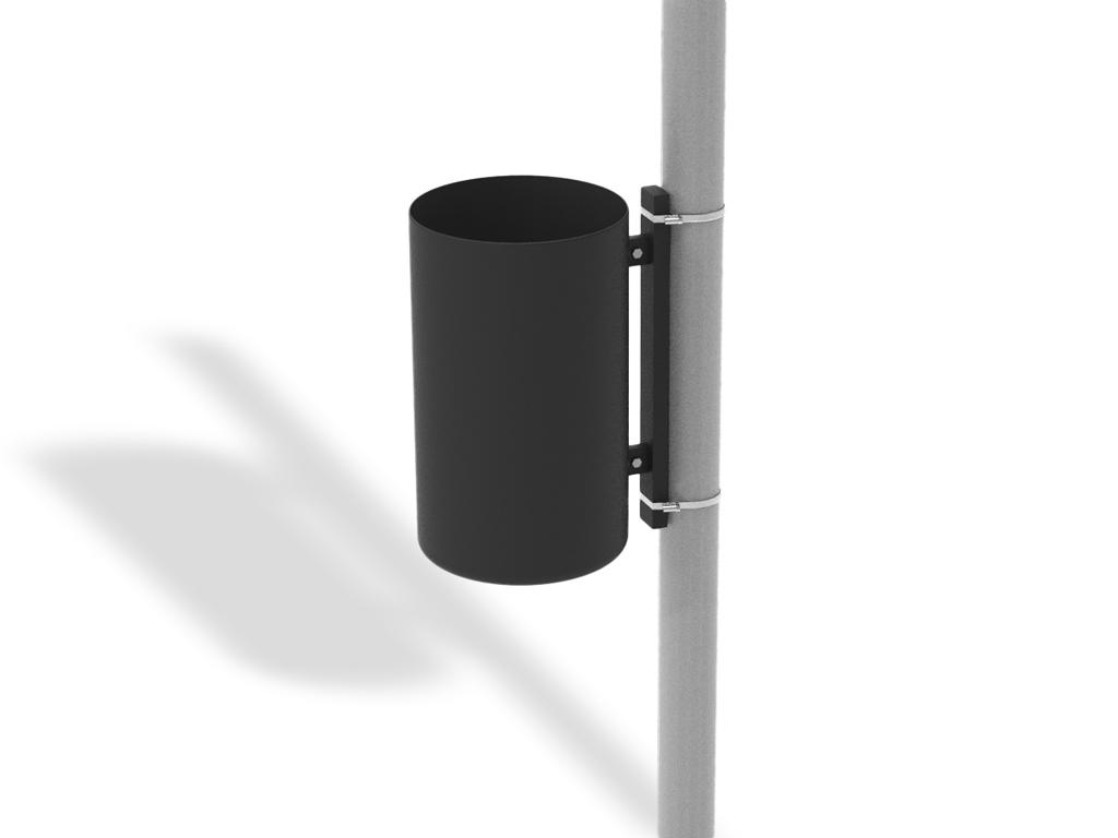 Cestino singolo rigato per innesto su palo esistente con coperchio