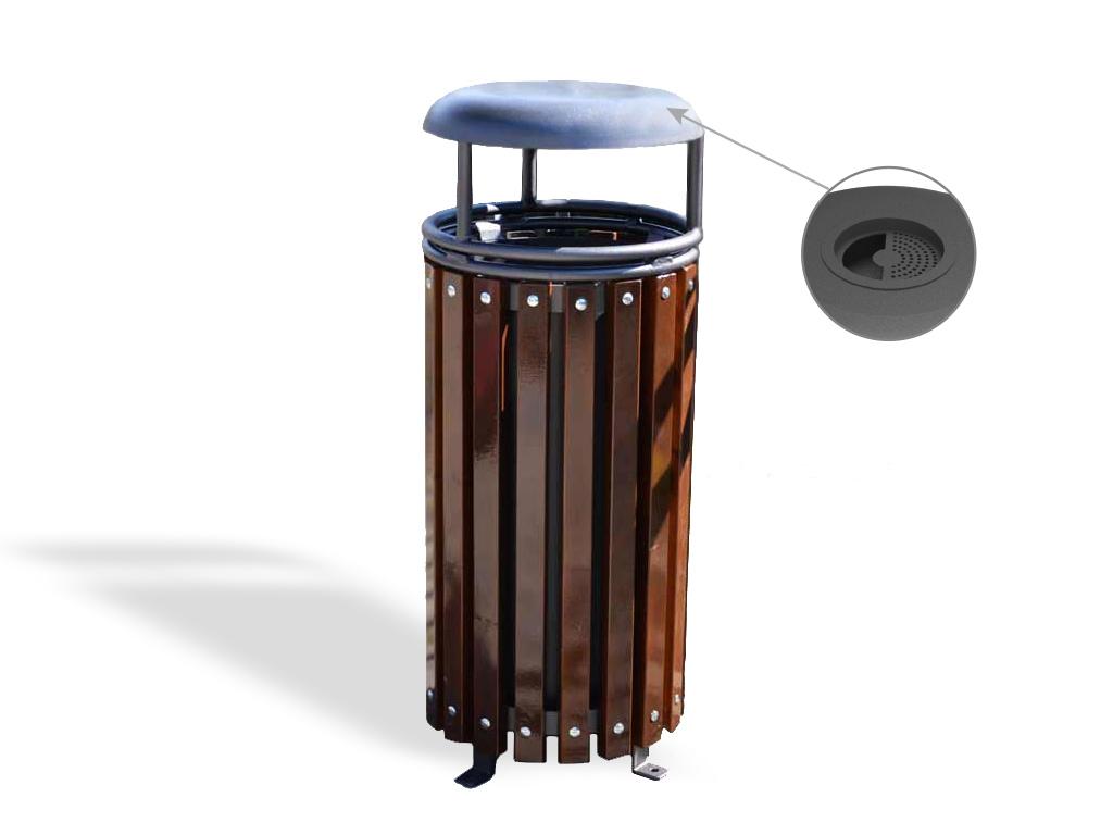 Cestone Giglio rivestito in legno con coperchio in acciaio e posacenere