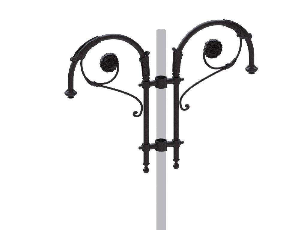 Cima a pastorale con doppio riccio ornamentale ed ornamenti floreali tipo Borromini doppia