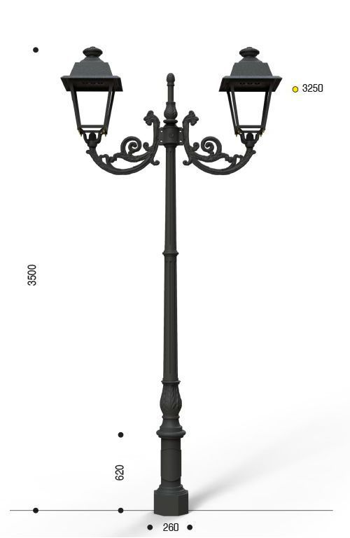 Meridiana Cast iron  post with steel core, base cod. 110, two brackets cod. 403 and two lanterns cod. 602