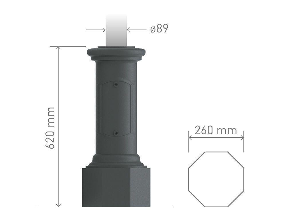 Pali per illuminazione u e pali in acciaio con o senza ornamen