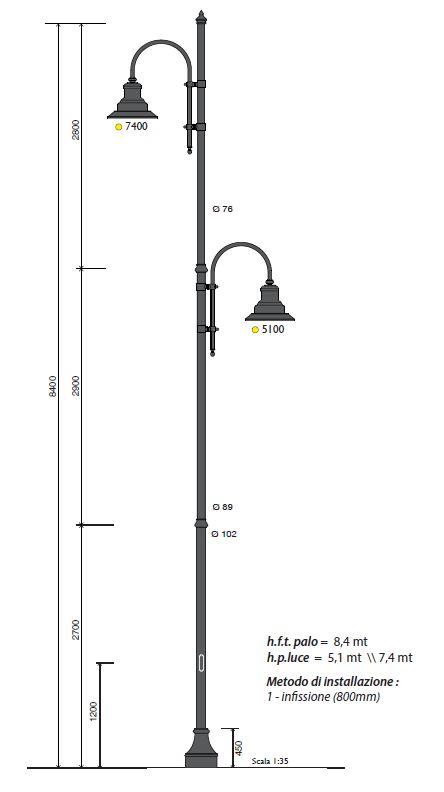 Palo h.f.t. 7,5 con base 326 , e due lampare sfalsate hpl 5m lampara 62209 e 7,4m  lampara 622030