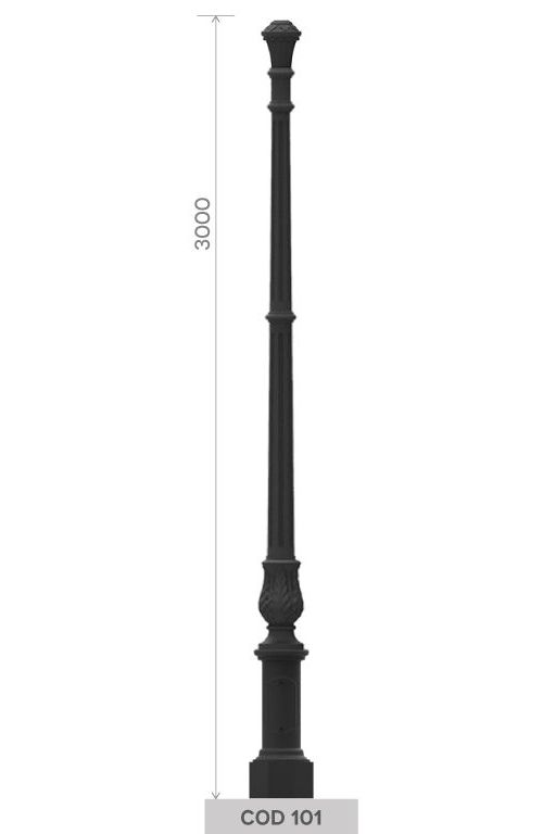 Cast iron pole with small octagonal base