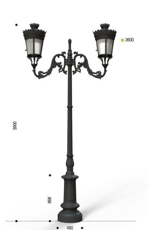 Palo in ghisa tipo Valperga con anima in acciaio base 110 cima doppia 401 e due lanterne cod 607