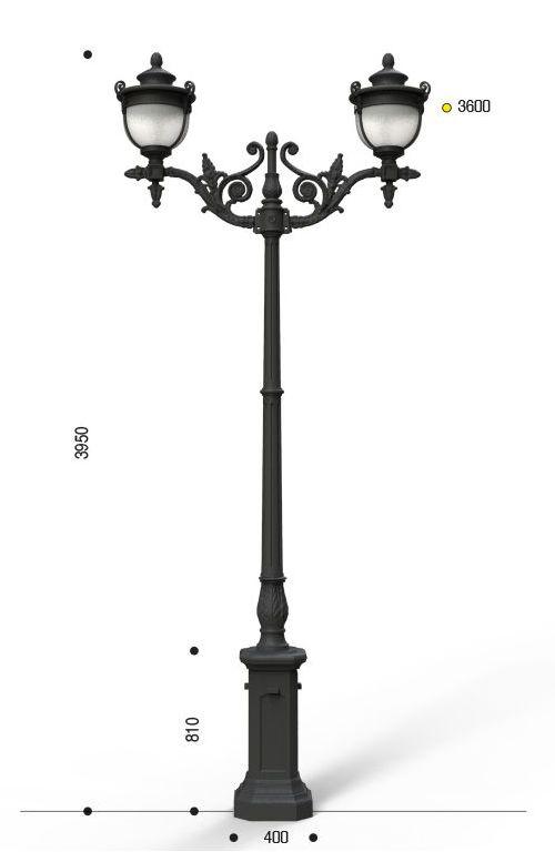 Palo in ghisa tipo Melodia con anima in acciaio base 140 cima doppia 406 e due lanterne cod 610