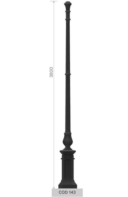 cod. 143 - UNI EN 1561 GJL250 cast iron pole with medium octagonal base.