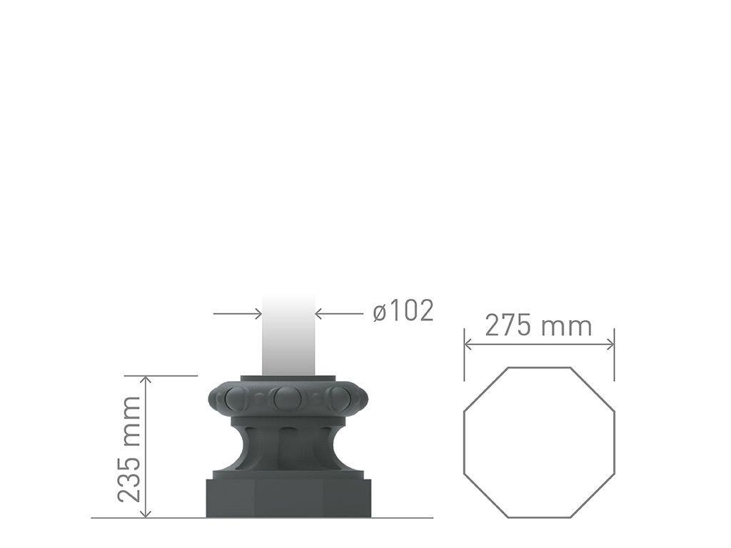 Base in ghisa UNI EN 1561 GJL250 ottagonale piccolissima