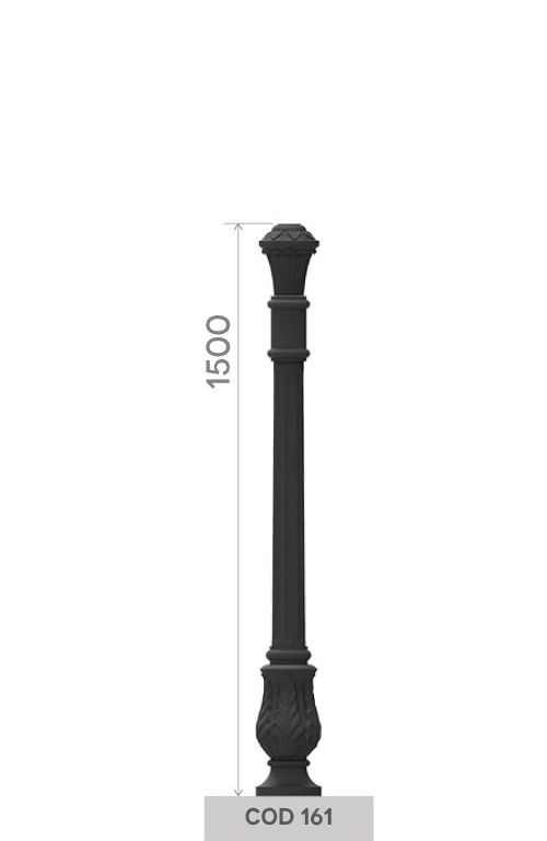 UNI EN 1561 GJL250 cast iron pole with small floral base.
