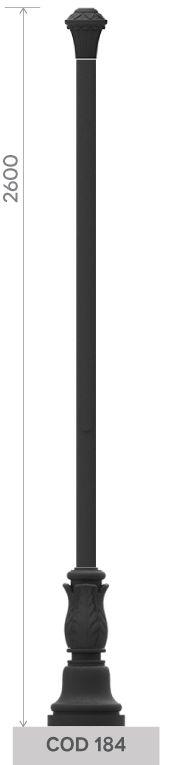 Palo in fusione di ghisa UNI EN 1561 GJL250 con base circolare ondulata