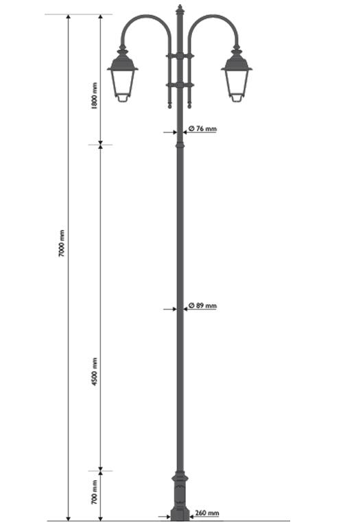 Palo in ghisa e acciaio con base 307, cima a pastorale doppia 505 e lanterne 602