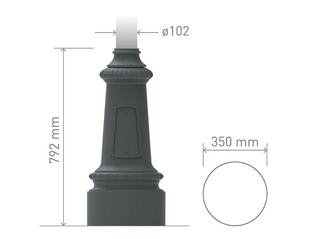 Base in ghisa UNI EN 1561 GJL250 per pali in acciaio circolare media.