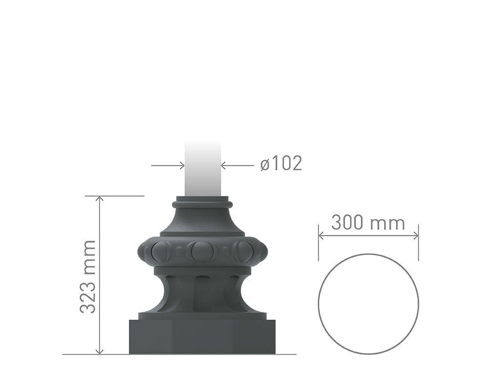 Base in ghisa UNI EN 1561 GJL250 per pali in acciaio ottogonale media.