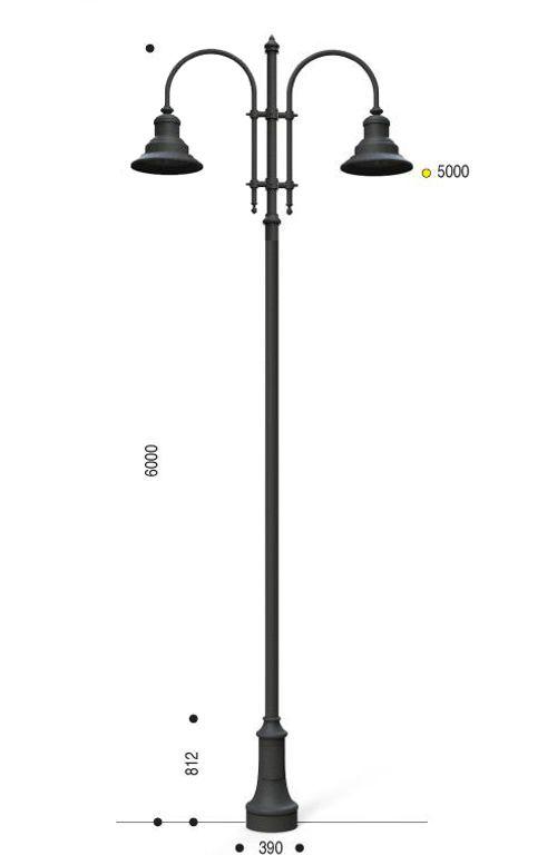 Palo in ghisa e acciaio con base 311 cima con pastorale 505 e lampara 622.LO SA30 59W 3000K Ottica AS altezza punto luce 5 metri