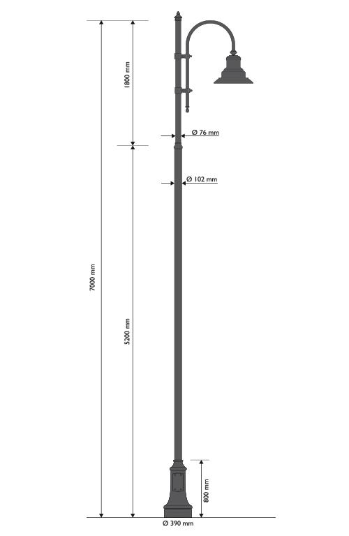 Palo in ghisa e acciaio con base 311 cima con pastorale 505 e lampara cod.622