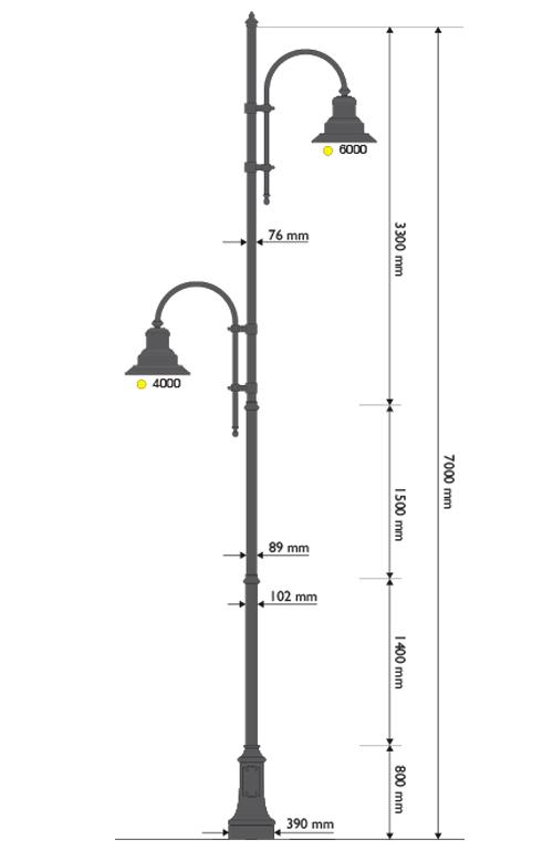 Palo in ghisa e acciaio con base 311, due cime con pastorale 505 e lampare 622