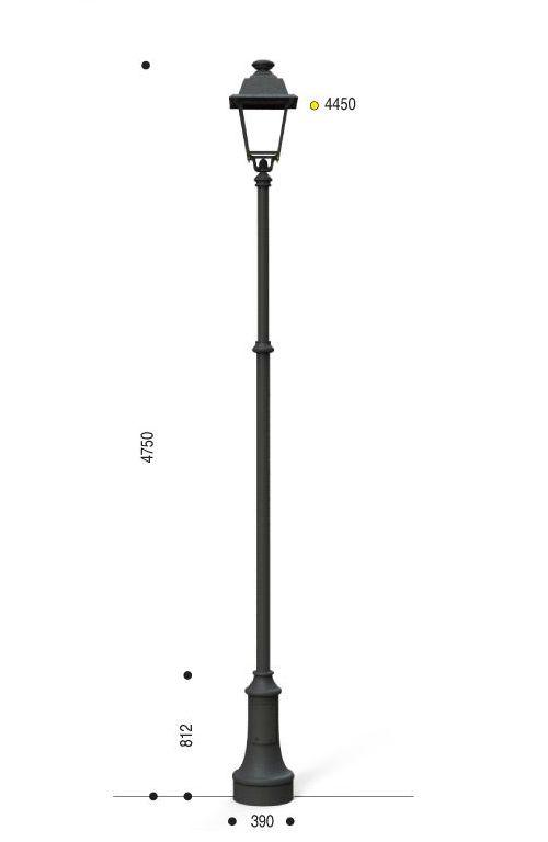 Palo in ghisa e acciaio con base 311 testa palo TP2 e lanterna 602