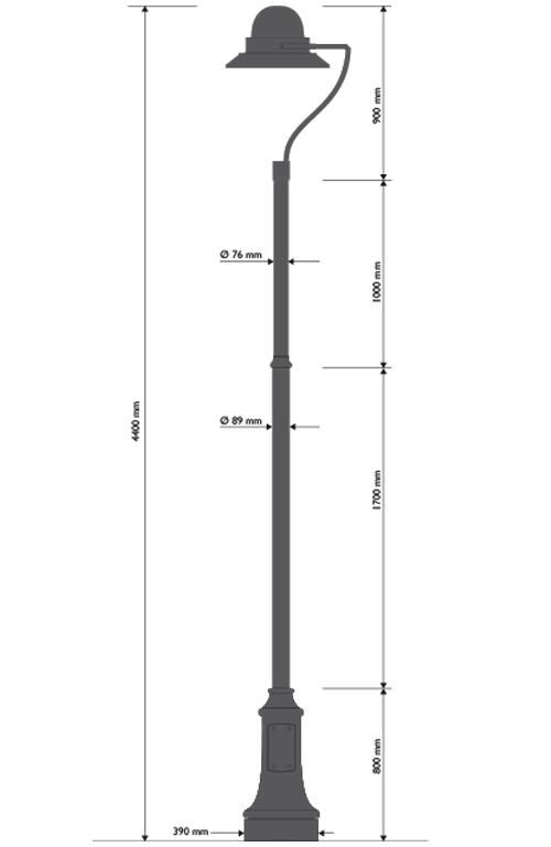 Palo in ghisa e acciaio tipo Joharia con base 311 testa palo TPLUNA e lampara 628.led.O