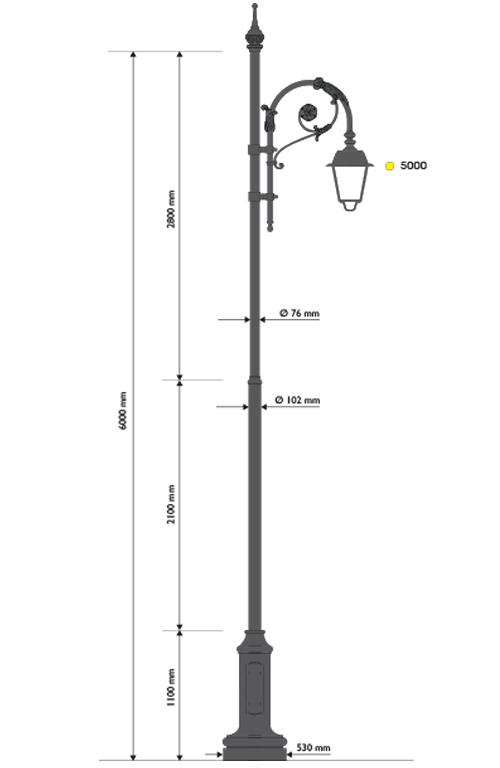 Palo in ghisa e acciaio tipo Favara con base 317 cima con pastorale 503.1 e lanterna 602