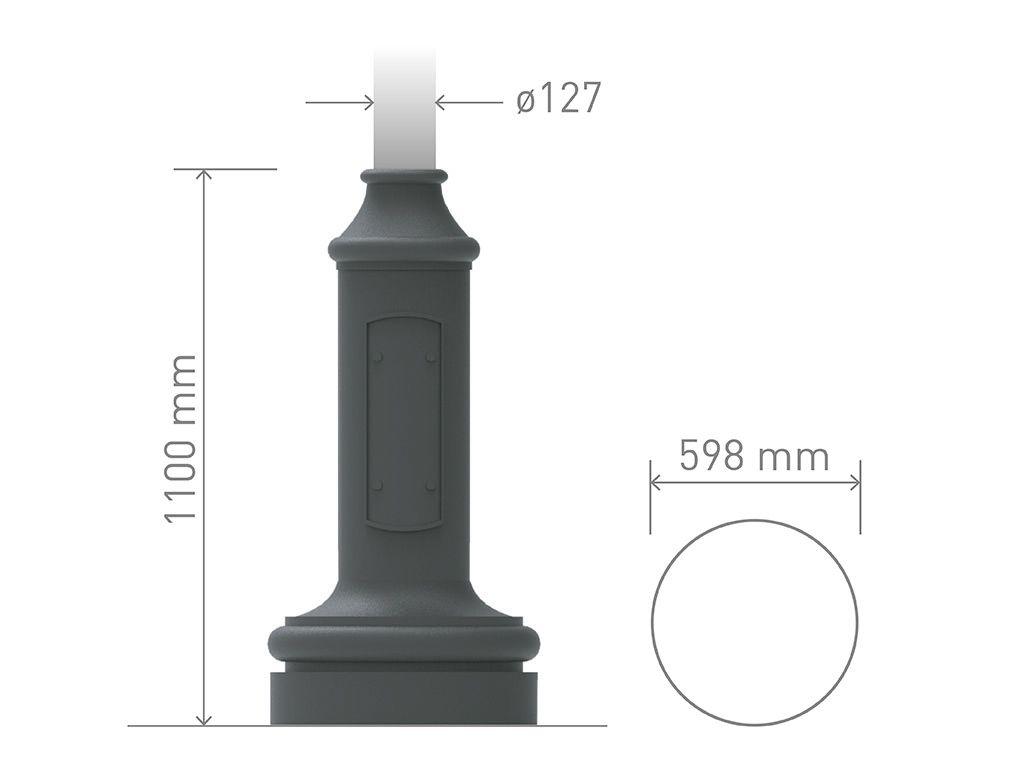 Base in ghisa UNI EN 1561 GJL250 per pali in acciaio circolare grandissima.