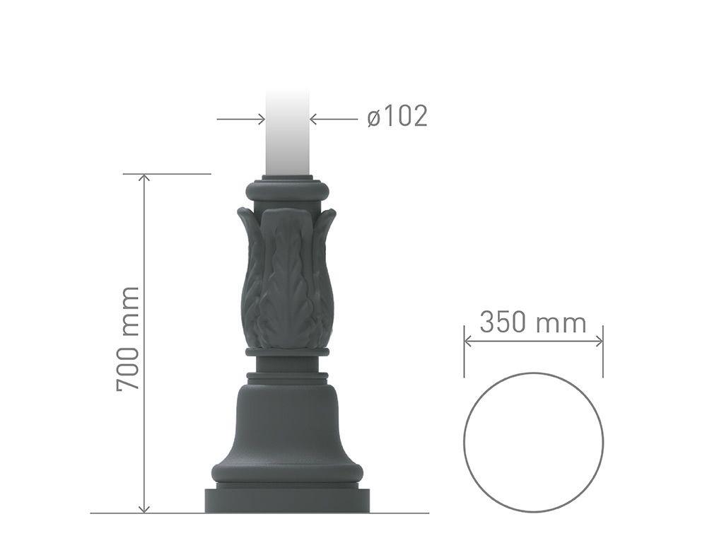 Base in ghisa UNI EN 1561 GJL250 per pali in acciaio tonda piccolissima.