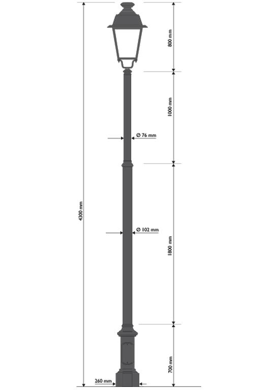 Palo in ghisa e acciaio tipo Clossard con base 324 e lanterna 602 portata