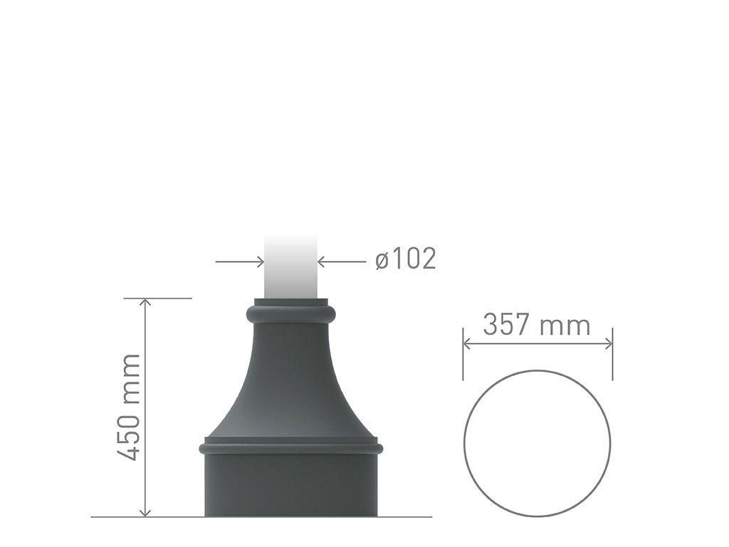 Base in ghisa UNI EN 1561 GJL250 per pali in acciaio conica media