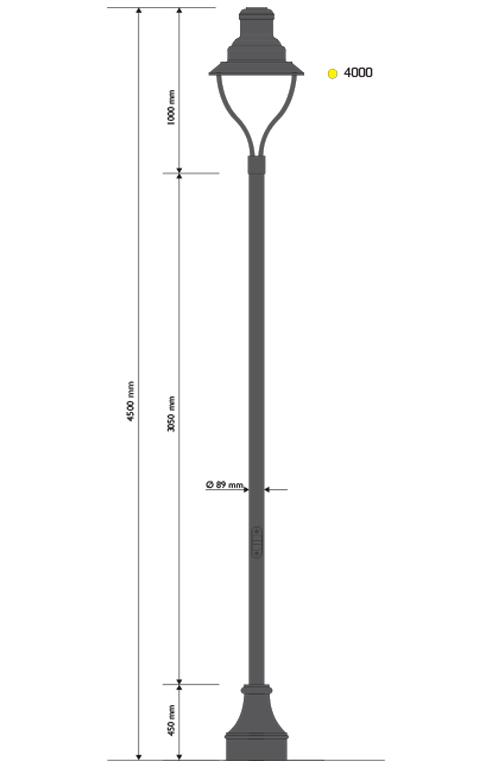 Palo in ghisa e acciaio tipo Magorre con base 328 e lampara 622 portata