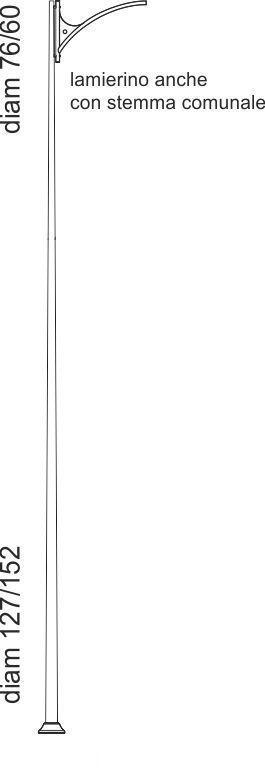 Palo in stile contemporaneo con punto luce a richiesta di tipo tronco conico con lamierino sullo sbraccio