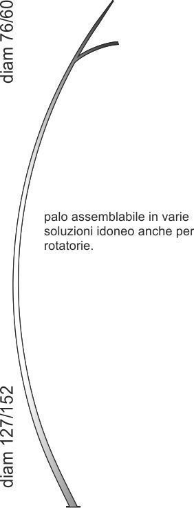 Palo in acciaio adatto anche per rotatorie assemblabile in varie soluzioni
