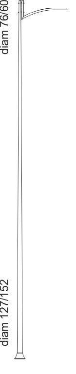 Palo in acciaio dritto con braccio in acciaio