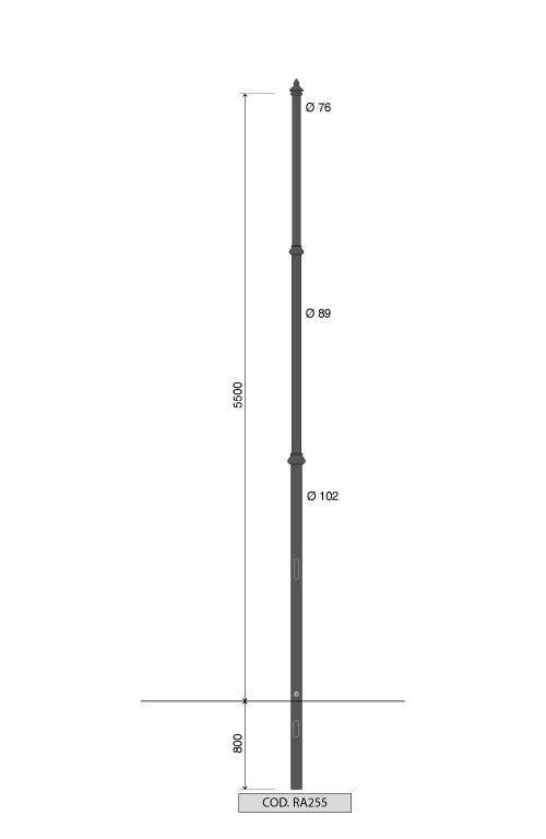 Palo rastremato artistico RA255 altezza fuori terra 5,5 metri