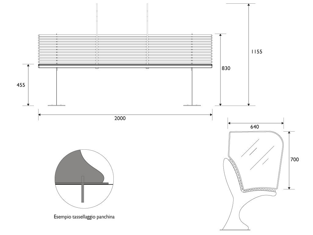 Panchina tipo SHARK in acciaio - misure