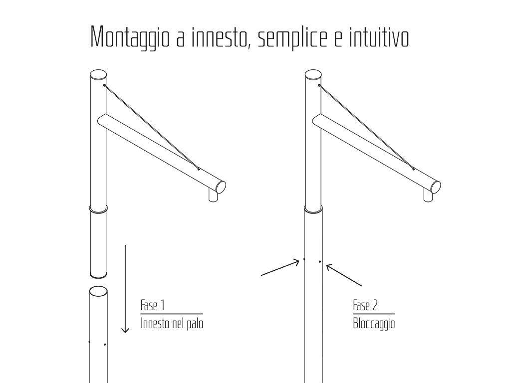 Braccio serie INNER con tirante - esempio di montaggio generico