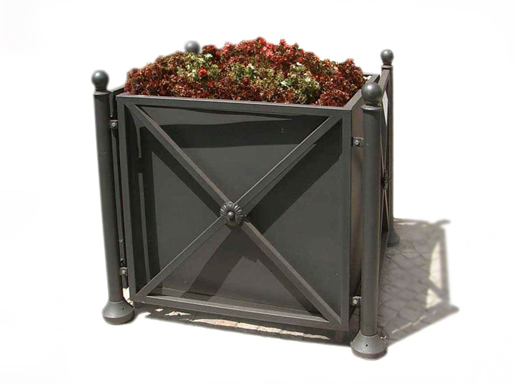 Artistic steel street planter with pillars and floral decorations Lilla