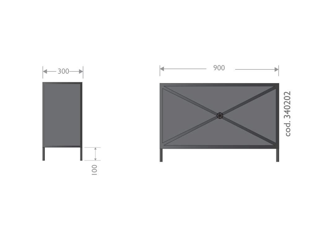 Fioriera artistica in acciaio tipo Biancospino - prospetto frontale
