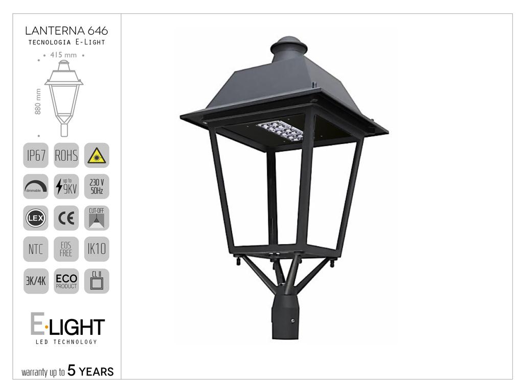Lanterna quadrata 646 in pressofusione di alluminio con tecnologia led E-light