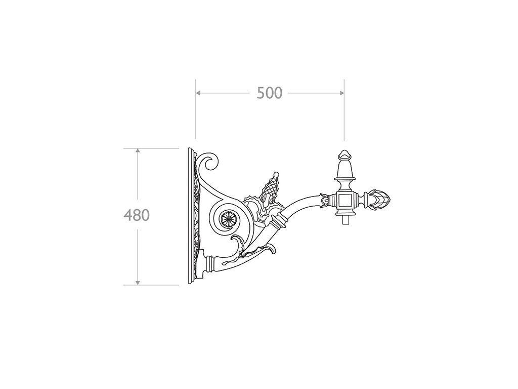 Mensola a muro in ghisa e alluminio tipo Call? - dimensioni