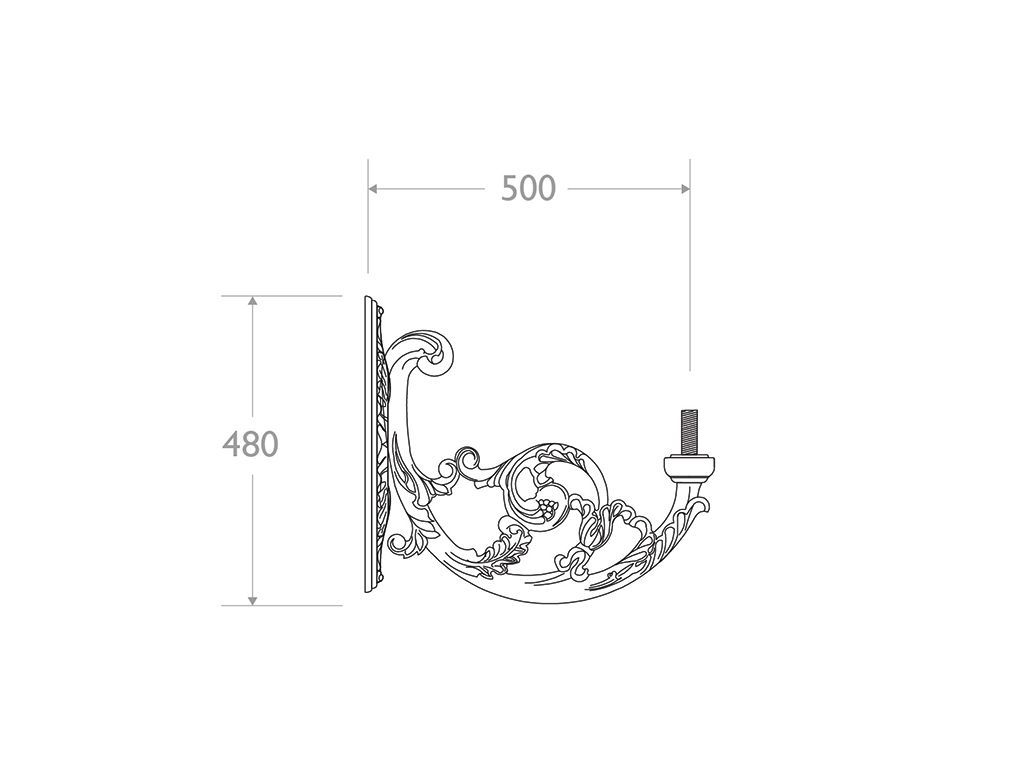 Mensola a muro in ghisa e alluminio tipo Corf? - dimensioni