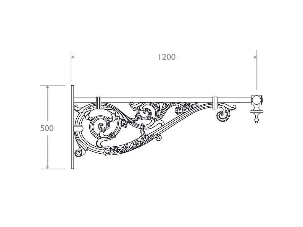 Mensola a muro in ghisa, alluminio e acciaio tipo Capri - dimensioni