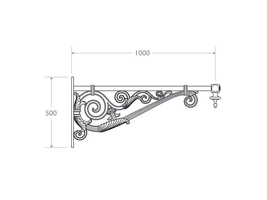 Mensola a muro in ghisa, alluminio e acciaio tipo Alicudi - dimensioni
