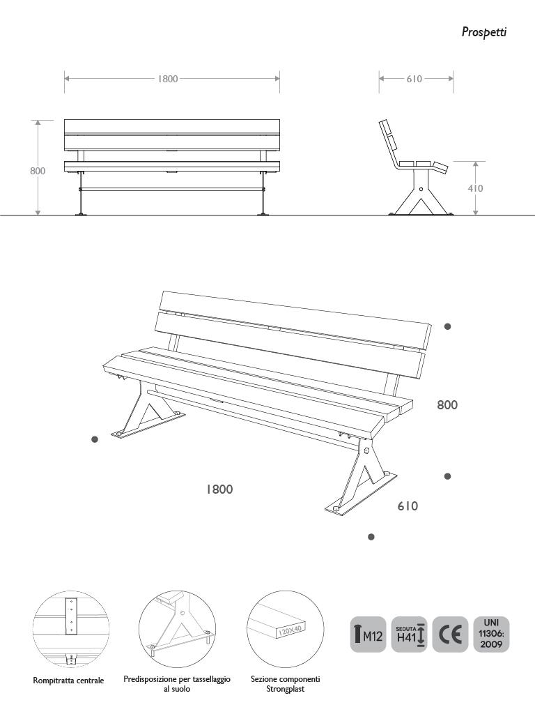 Prospetti e vista 3D panca picnic in Acciaio e Strongplast