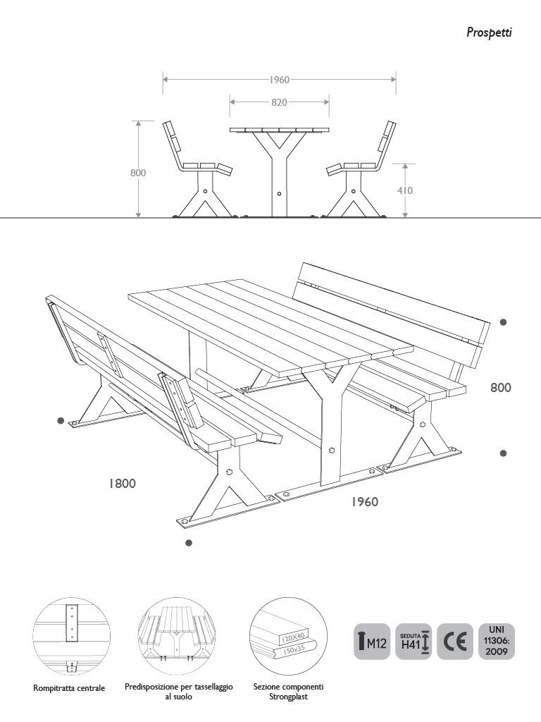 Prospetti e vista 3D kit tavolo panca picnic in Acciaio e Strongplast