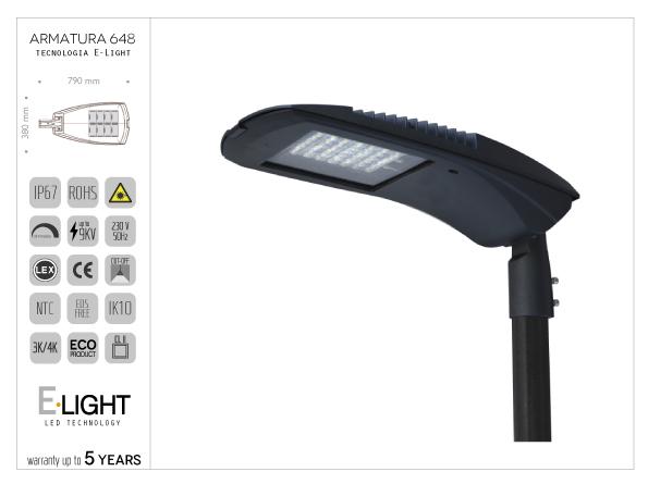 Armatura stradale Ori cablata LED con n° 32 chip - 64w , 11200 lumen , 4K ,T.vita 80000h ottica asimmetrica