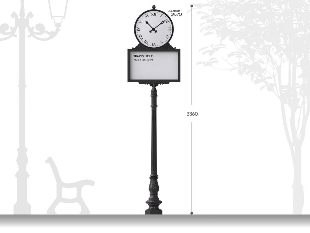 Artistic signpost with clock