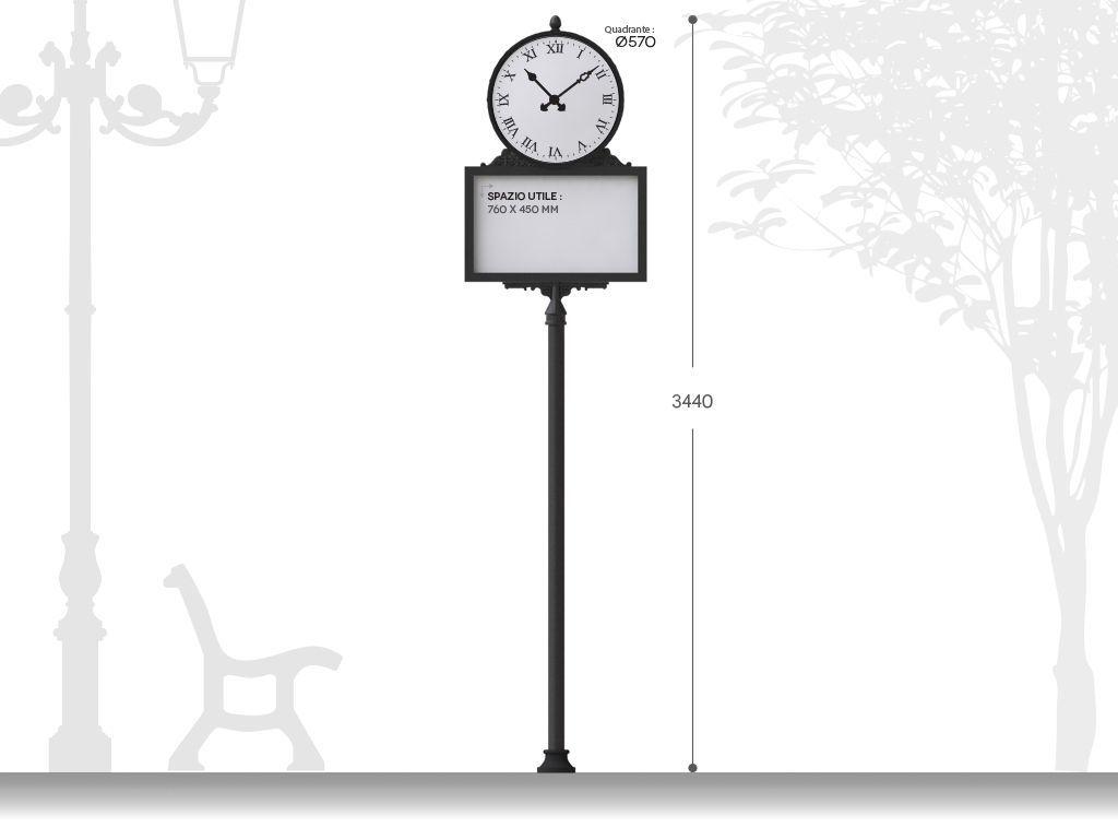 Palina segnaletica artistica con orologio e pannello informativo