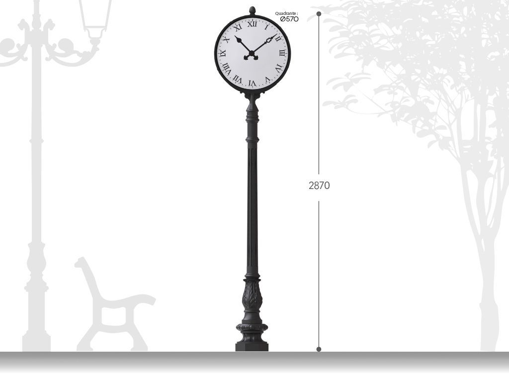 Artistic cast iron post with clock