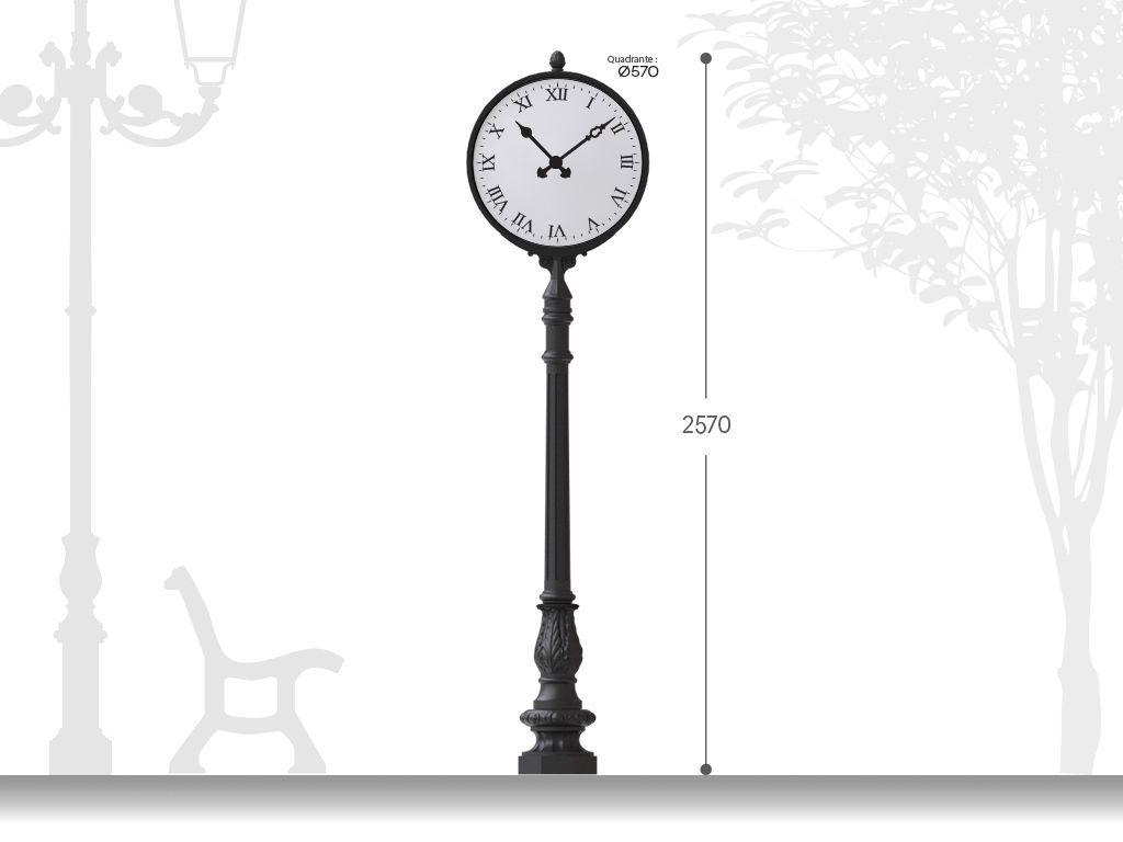 Orologio stradale artistico in ghisa H 2570  - Monofacciale installazione su base rialzata