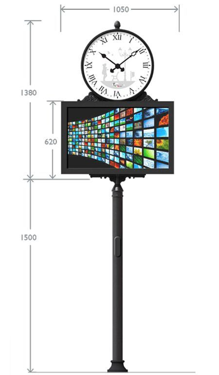 Urban Digital Signage Clock con display da 43'' ed ornamenti in acciaio e ghisa