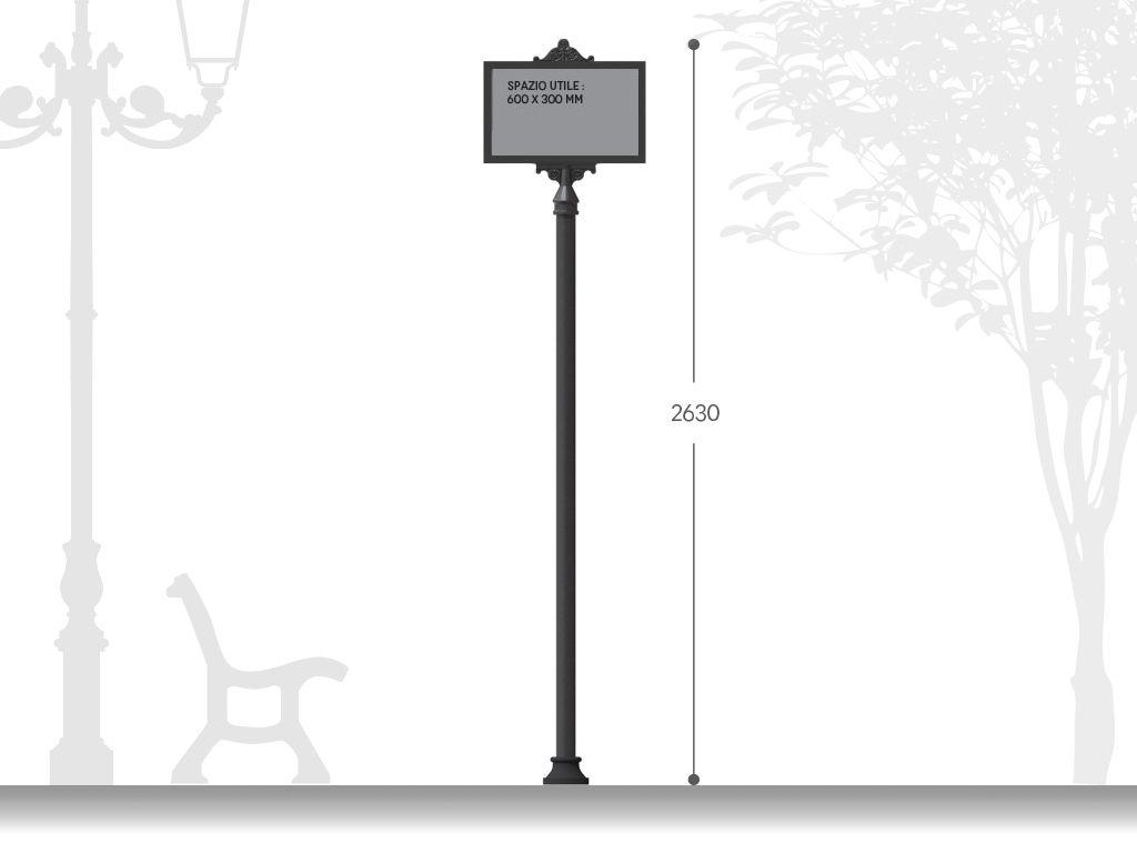 Palina segnaletica H 2630 con spazio per affissioni 600x300 mm - Monofacciale