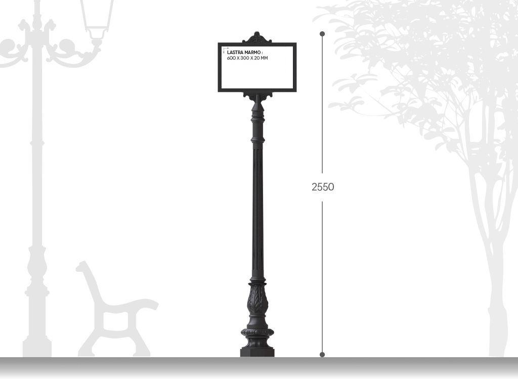 Palina segnaletica in ghisa per inserimento lastra di marmo H 2550 misure utili 60x30cm